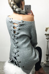Iysa Lace Up Knit Sweater - Heather Grey - Hapa Clothing - 1