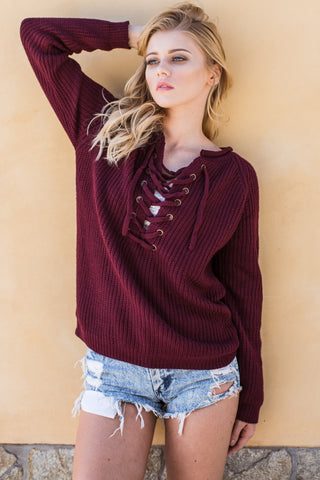 Adriana Lace Up Sweater- Burgundy - Hapa Clothing - 1