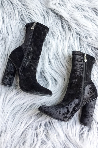 Ava Crushed Velvet Booties-Black - Hapa Clothing - 2