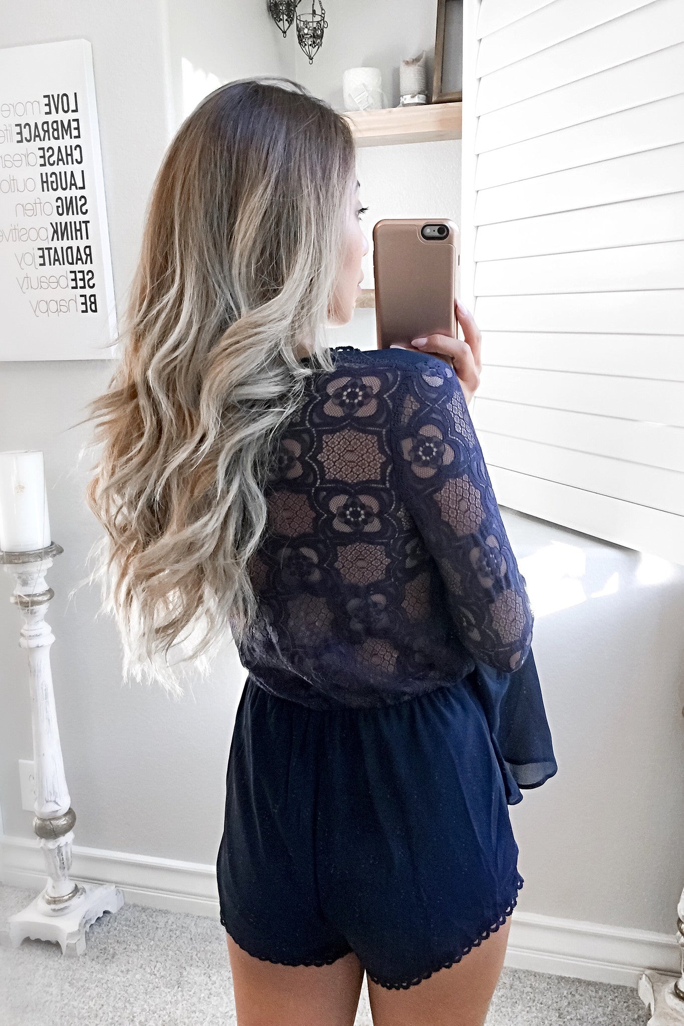 Avani Lace Back Bell Sleeve Playsuit-Navy - Hapa Clothing