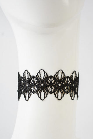 Flower Lace Choker - Black - Hapa Clothing