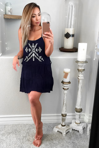 Juniper Tiered Lace Up Dress-Navy - Hapa Clothing - 1