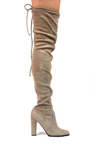 Kourtney Thigh High Boots- Taupe - Hapa Clothing - 1