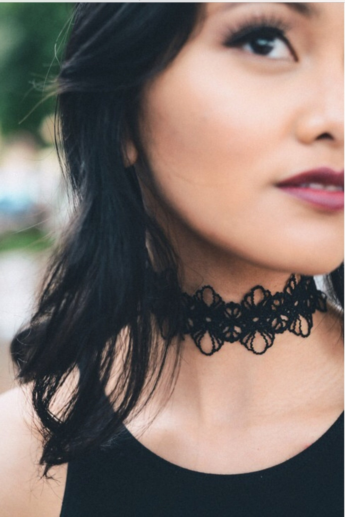 Flower Lace Choker - Black - Hapa Clothing - 1