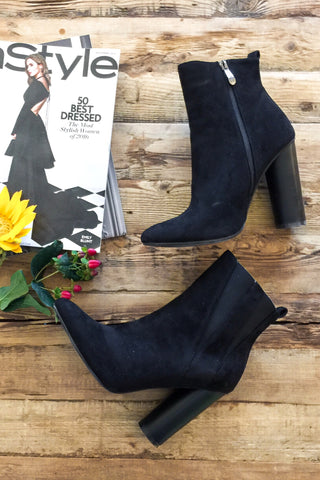 Hailee Suede Booties-Black - Hapa Clothing - 1
