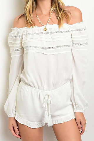 Kiana Off Shoulder Romper-White - Hapa Clothing