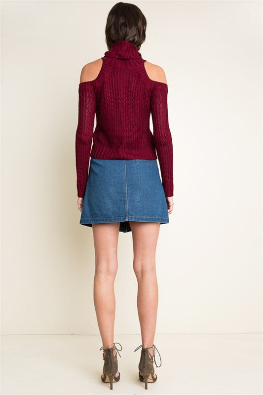 Cold Shoulder Turtle Neck Sweater-Burgundy - Hapa Clothing