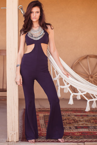 Gina Cutout Bell Bottom Jumpsuit-Navy - Hapa Clothing
