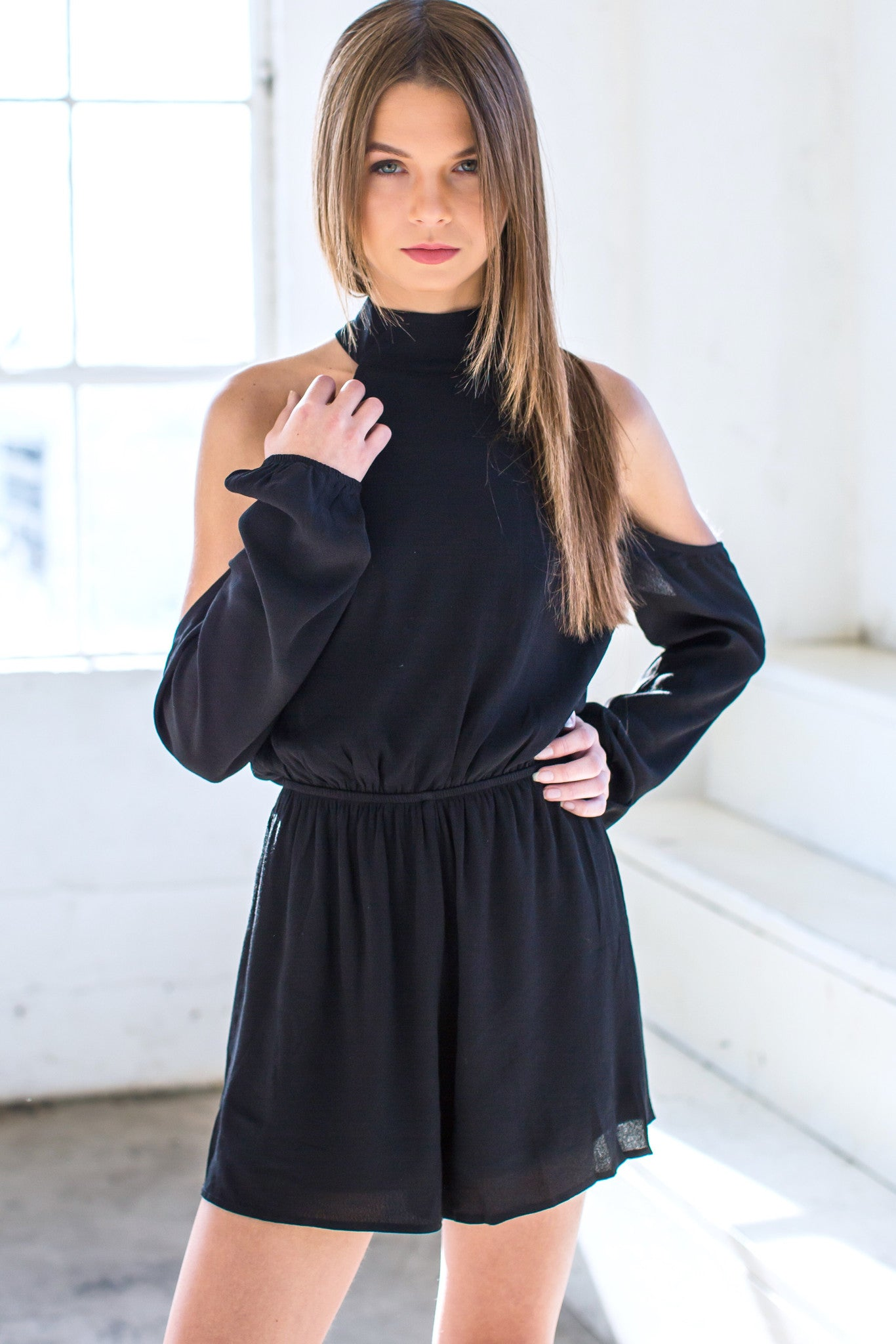 Bernice Cold Shoulder Playsuit- Black - Hapa Clothing - 3