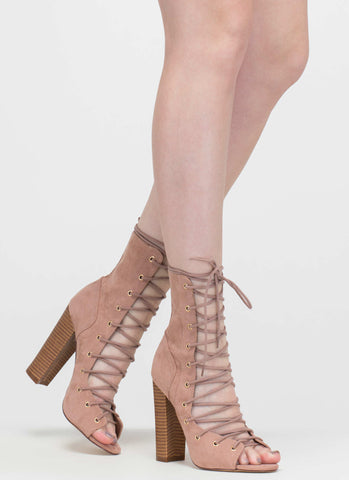 Lace Up Open Toe Booties-Mauve - Hapa Clothing