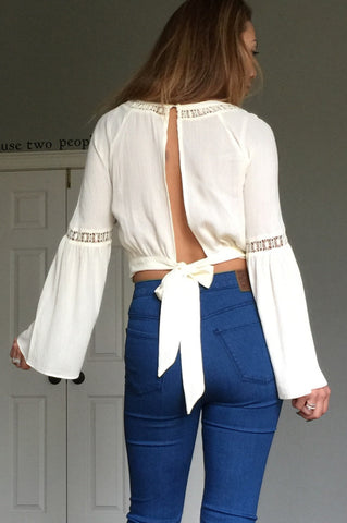 Bow Back Bell Sleeve Top - Hapa Clothing