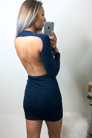 Deidra Backless Bodycon Dress - Navy