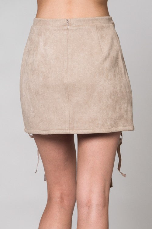 Faux Suede Lace Up Skirt-Tan - Hapa Clothing - 4