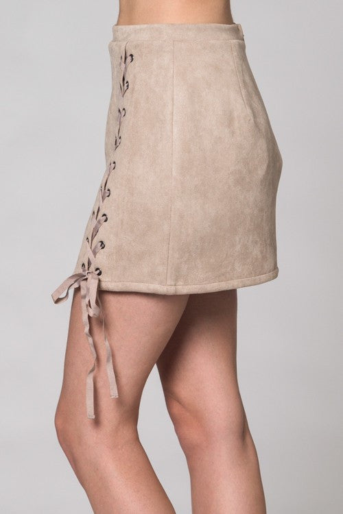 Faux Suede Lace Up Skirt-Tan - Hapa Clothing - 3