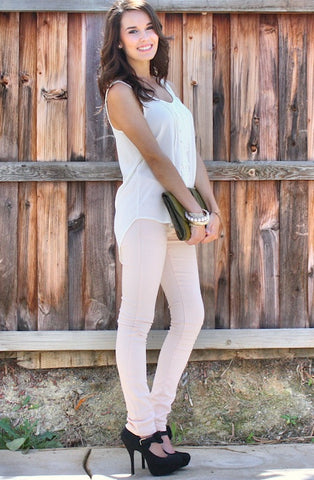 Super Stretch Jeggings- Light Pink - Hapa Clothing