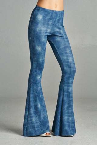 Denim Scuba Bell Bottoms - Hapa Clothing