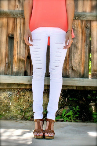 Distressed White Jeggings - Hapa Clothing
