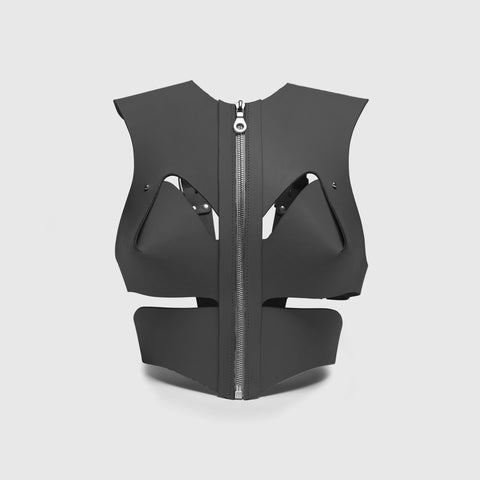 GREY CROPPED CUT-OUT HARNESS