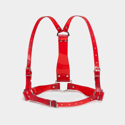 D-RING HARNESS - RED PVC