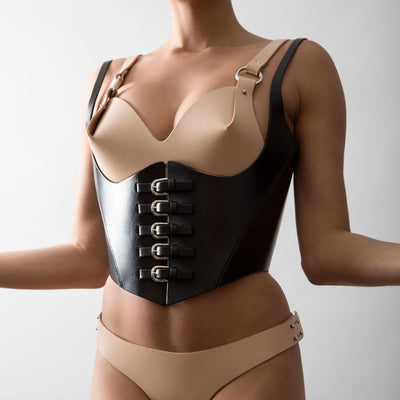 MULTI BUCKLE CORSET - BLACK