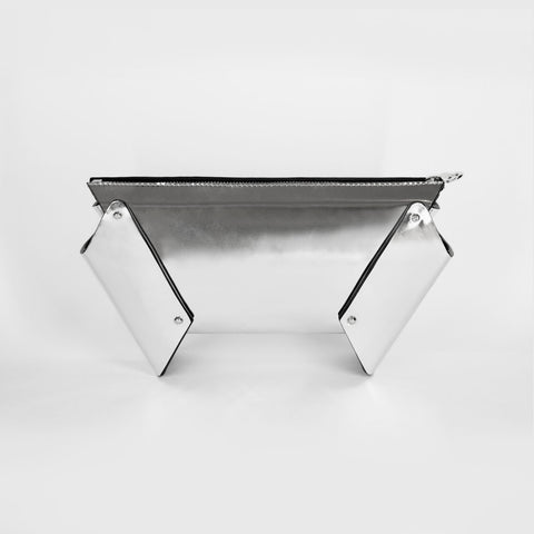 WING BOX CLUTCH SILVER
