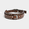 THIN STUDDED COLLAR - BROWN