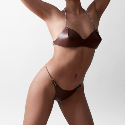 CHAIN BRA BROWN