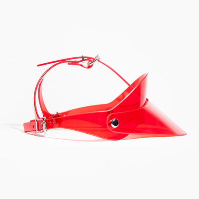 RACER BACK VISOR - RED PVC