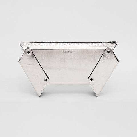 WINGED BOX CLUTCH - SILVER
