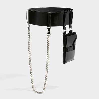 SLIM CHAIN BELT WITH POCKET BLACK PATENT