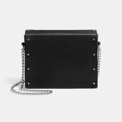 STUDDED BOX SATCHEL BLACK