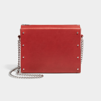 STUDDED BOX SATCHEL RED