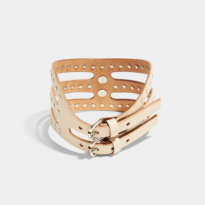 STUDDED CUT OUT POSTURE COLLAR - NUDE