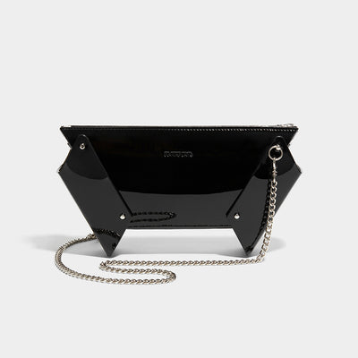 WINGED BOX CLUTCH WITH CHAIN BLACK PATENT