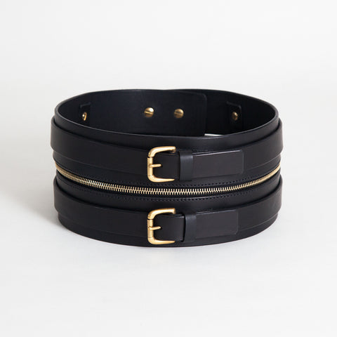 DOUBLE BUCKLE ZIP BELT BLACK