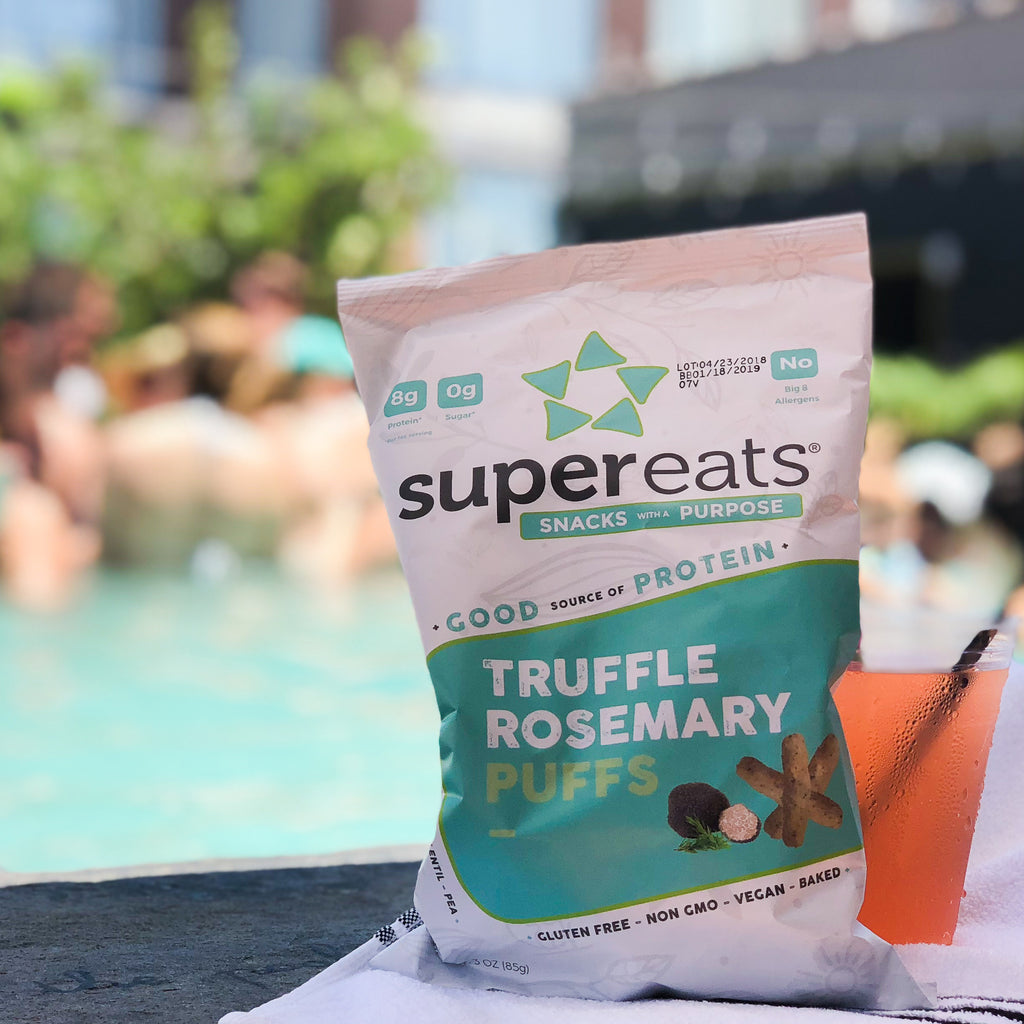 supereats plant based protein puffs at the pool