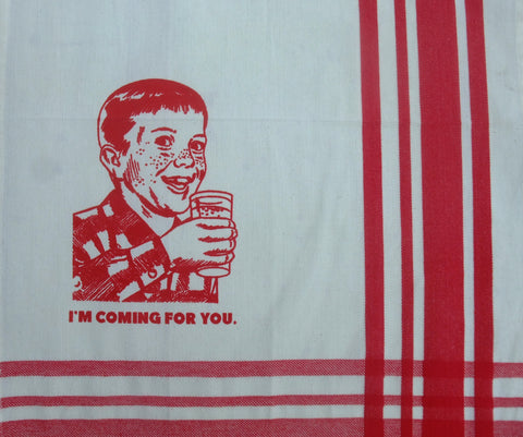 """I'm coming for you."" Creepy Kid in Organic Cotton Tea Towel"