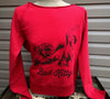 "Red French Terry wide neck sweat shirt with ""Bad Kitty"" silk screen."