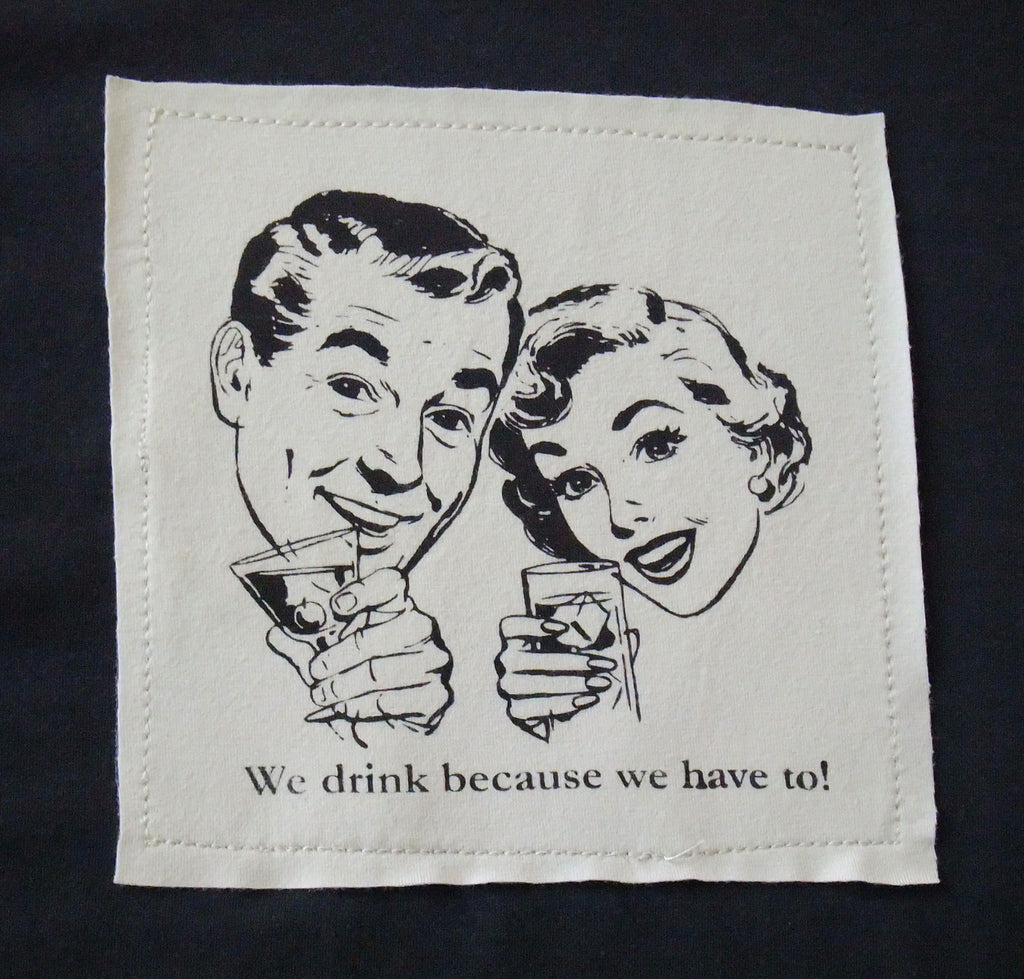 Retro couple drinking silk screen on charcoal grey bamboo t-shirt.