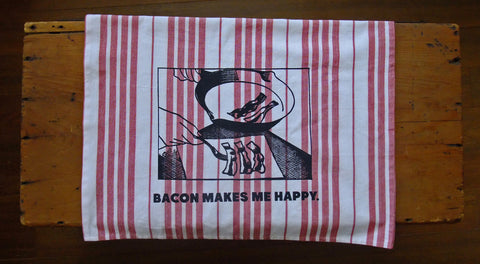 Bacon makes me happy Jumbo Tea Towel (Red)