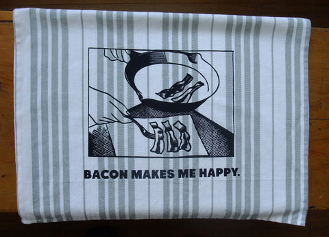 Bacon makes me happy Jumbo Tea Towel (Grey)