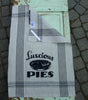 Luscious Pies Retro Linen Tea Towel in Cream with Black Accents