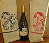 "Cream Cotton Wine Gift Bag ""We drink because we have to"" retro silk screen."