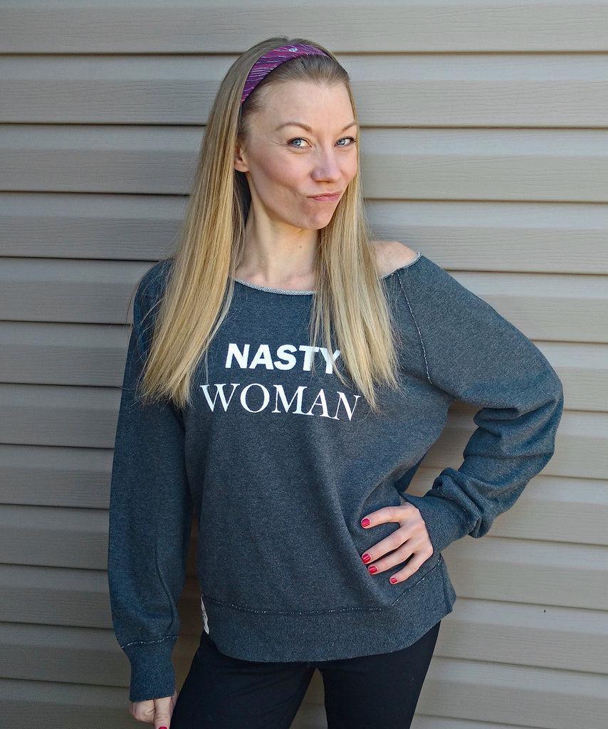 """nasty woman"" french terry boat neck sweatshirt in grey"