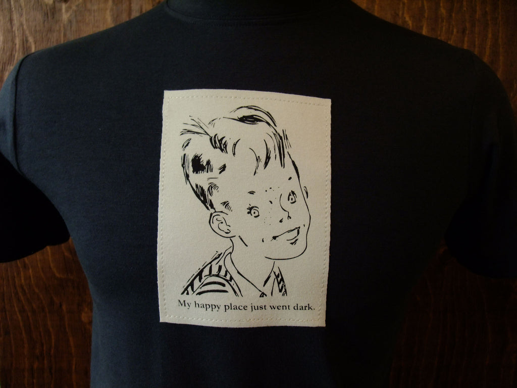 Creepy kid silk screen on men's charcoal, bamboo shirt.