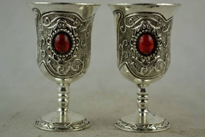 Handwork Miao Silver Carving Pattern & Inlay Red Bead Wine Cup metal handicraft