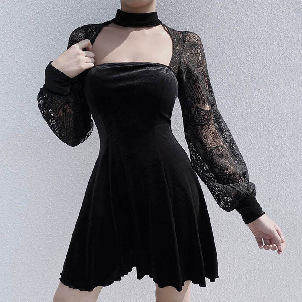 Rosetic Women Dress Black Sexy Lace Dresses 2019 Gothic Female High Waist Sexy Hole Beauty Back Pleated Dress Women Party Club