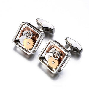 Hot Sales Square Steampunk Gear Cufflinks For Mens Lepton Watch Mechanism Gear Cufflinks Fashion Men Groom wedding cufflink