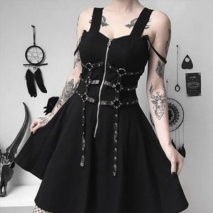 Rosetic Bandage Patchwork Women Dress Black Spaghetti Strap A-Line Summer Dresses Women's Sexy Sleeveless Punk Short Платье
