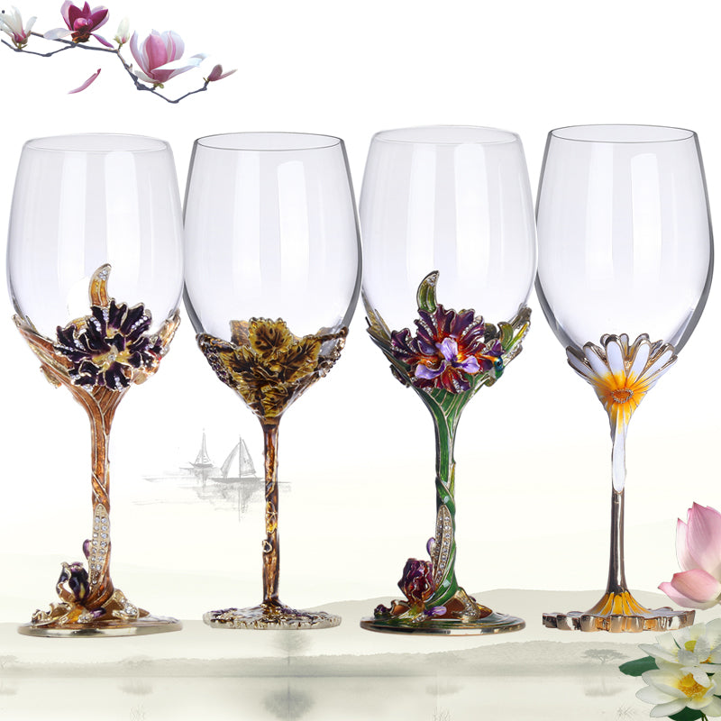 European Crystal Enamel Color Wine Champagne Goblet Creative High-grade Wedding Gift Set Tumbler Four Style Choose Glass Cup